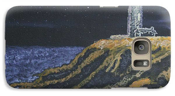 Galaxy Case featuring the painting Pigeon Lighthouse Night Scumbling Complementary Colors by Ian Donley