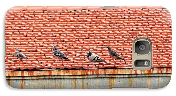Galaxy Case featuring the photograph Pigeons On Roof by Aaron Martens