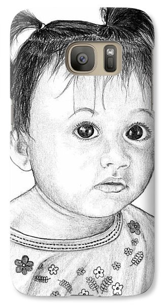 Galaxy Case featuring the drawing Pigtails 2 by Lew Davis