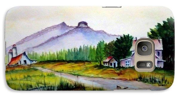 Galaxy Case featuring the painting Pilot Mountain Nc Farm Scene by Richard Benson