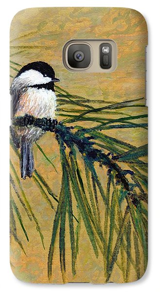 Galaxy Case featuring the painting Pine Branch Chickadee Bird 1 by Kathleen McDermott