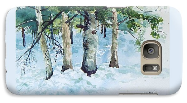 Galaxy Case featuring the painting Pine Trees And Snow by Joy Nichols