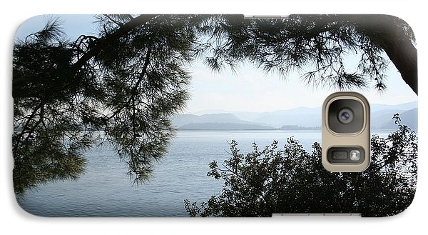 Galaxy Case featuring the photograph Pine Trees Overhanging The Aegean Sea by Tracey Harrington-Simpson