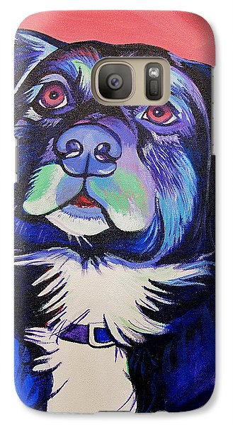 Galaxy Case featuring the painting Pink And Blue Dog by Joshua Morton