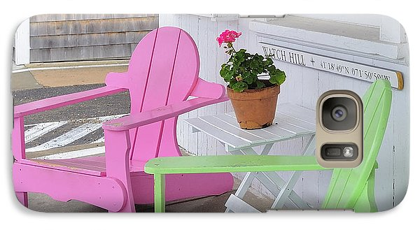Galaxy Case featuring the photograph Pink And Green Chairs Watch Hill Rhode Island by Marianne Campolongo