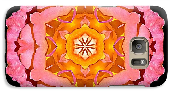 Galaxy Case featuring the photograph Pink And Orange Rose I Flower Mandala by David J Bookbinder