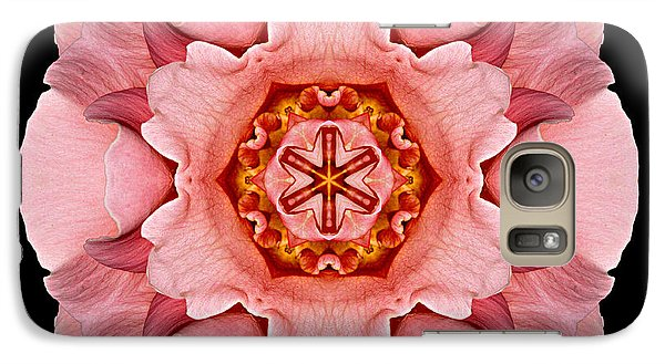 Galaxy Case featuring the photograph Pink And Orange Rose Iv Flower Mandala by David J Bookbinder