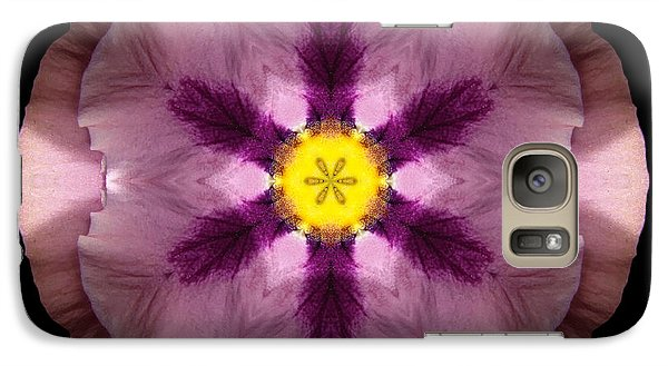 Galaxy Case featuring the photograph Pink And Purple Pansy Flower Mandala by David J Bookbinder