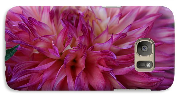 Galaxy Case featuring the photograph Pink And White Dahlia  by Denyse Duhaime