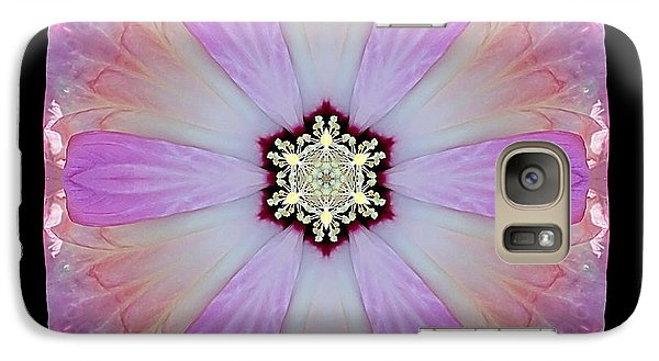 Galaxy Case featuring the photograph Pink And White Hibiscus Moscheutos I Flower Mandala by David J Bookbinder