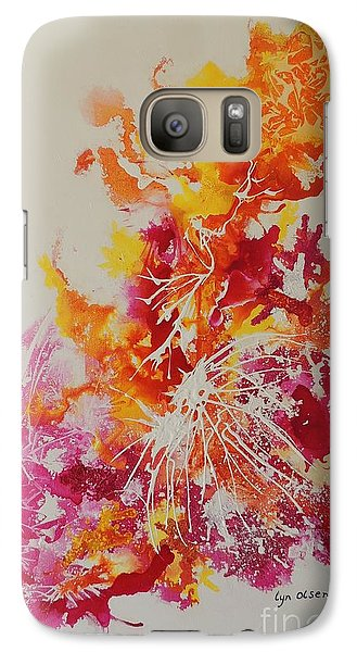Galaxy Case featuring the painting Pink And Yellow Coral by Lyn Olsen
