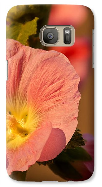 Galaxy Case featuring the photograph Pink And Yellow Hollyhock by Sue Smith