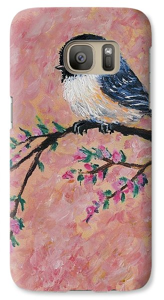 Galaxy Case featuring the painting Pink Blossom Chickadees - Bird 2 by Kathleen McDermott