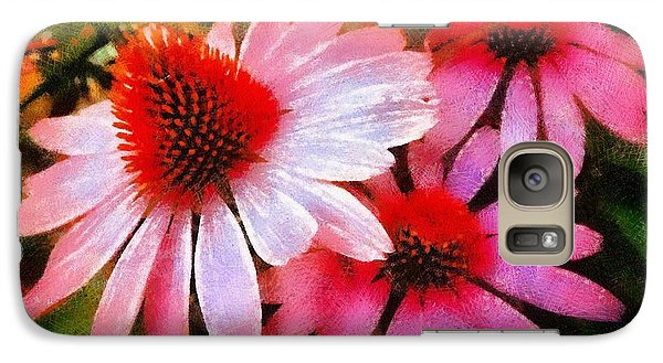Galaxy Case featuring the photograph Pink Coneflowers - Think Pink  by Janine Riley