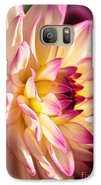 Galaxy Case featuring the photograph Pink Cream And Yellow Dahlia by Olivia Hardwicke