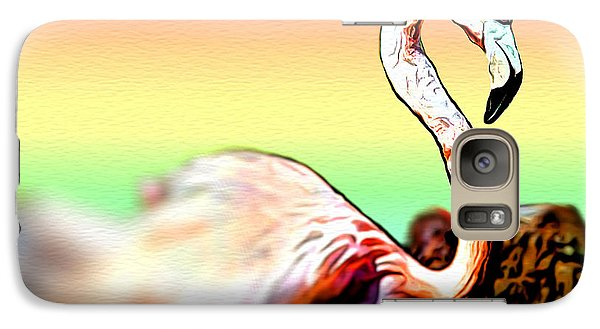 Galaxy Case featuring the digital art Pink Flamingo Bird by Daniel Janda