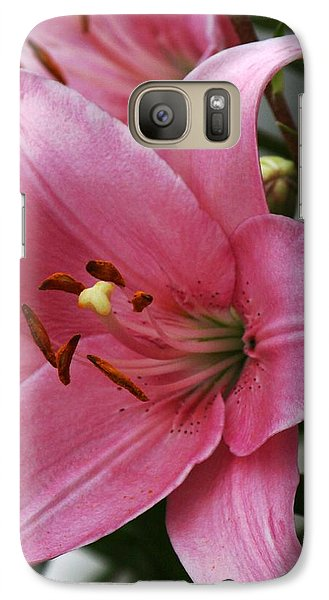 Galaxy Case featuring the photograph Pink Flower  Left Facing by Bill Woodstock