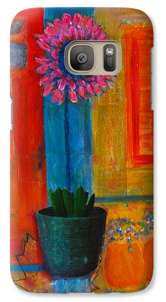 Galaxy Case featuring the painting Pink Flower by Patricia Januszkiewicz