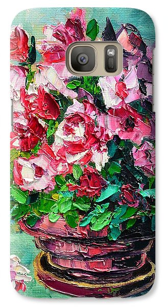 Galaxy Case featuring the painting Pink Flowers by Ana Maria Edulescu