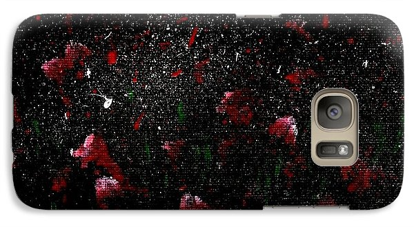 Galaxy Case featuring the painting Pink Flowers In Twilight by Becky Lupe