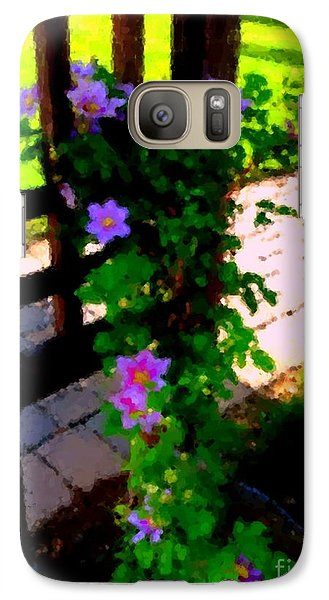Galaxy Case featuring the photograph Pink Flowers In Wooden Trellis 1 by Becky Lupe