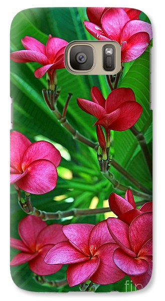 Galaxy Case featuring the photograph Pink Frangiapani - Plumeria by Larry Nieland