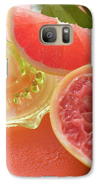 Pink Grapefruit Wedge, Squeezed Grapefruit, Citrus Squeezer Galaxy S7 Case