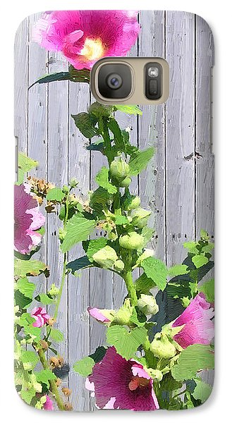 Galaxy Case featuring the painting Pink Hollyhocks by Doug Kreuger