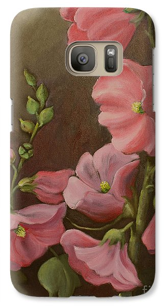 Galaxy Case featuring the painting Pink Holyhock by Marta Styk