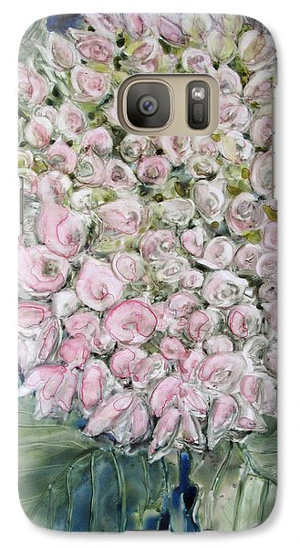 Galaxy Case featuring the painting Pink Hydrangea by Louise Peardon