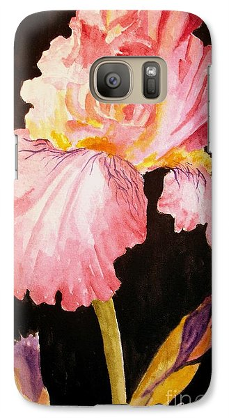 Galaxy Case featuring the painting Pink Iris by Carol Grimes