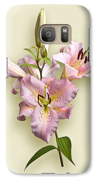 Galaxy Case featuring the photograph Pink Lilies On Cream by Jane McIlroy