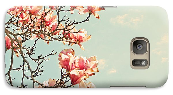 Galaxy Case featuring the photograph Pink Magnolia Flowers Against Blue Sky by Brooke T Ryan