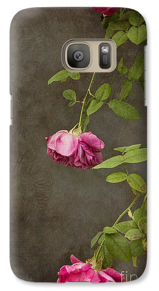 Flowers Galaxy S7 Case - Pink On Gray by K Hines