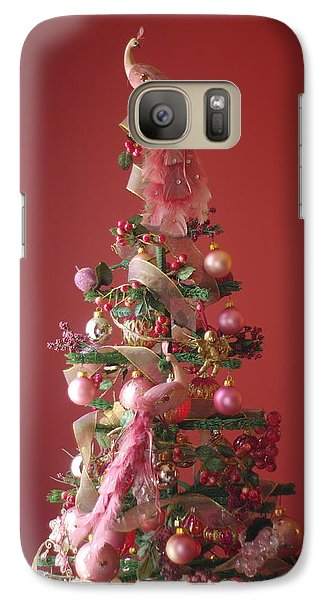 Galaxy Case featuring the photograph Pink Peacock Christmas Tree by Suzanne Powers