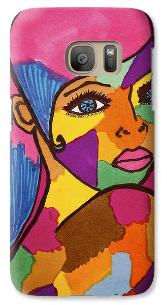 Galaxy Case featuring the drawing Pink Penny by Chrissy  Pena