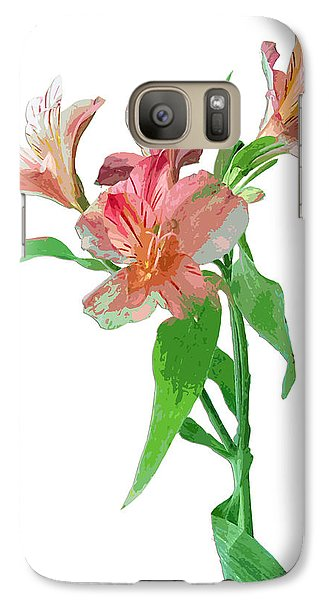 Galaxy Case featuring the photograph Pink Peruvian Lilies by Karen Nicholson