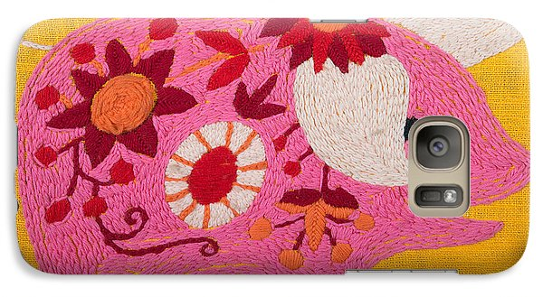 Galaxy Case featuring the painting Pink Piggy by Izabella West