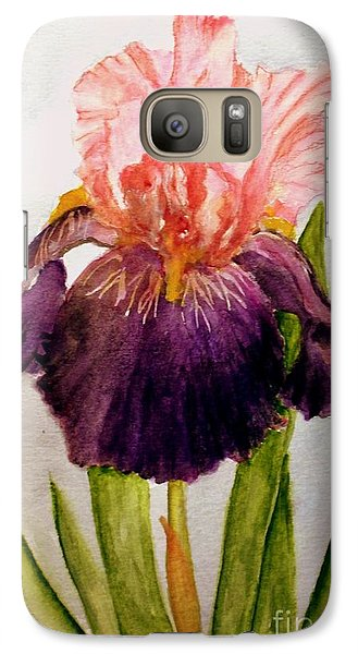 Galaxy Case featuring the painting Pink/purple Iris by Carol Grimes