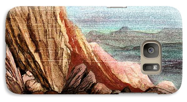 Galaxy Case featuring the painting Pink Rocks by Mikhail Savchenko