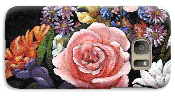 Galaxy Case featuring the painting Pink Rose Floral Painting by Judy Filarecki