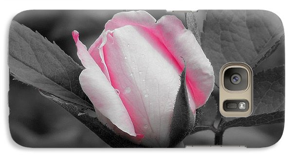 Galaxy Case featuring the photograph Pink Rose On Black And White by Chad and Stacey Hall