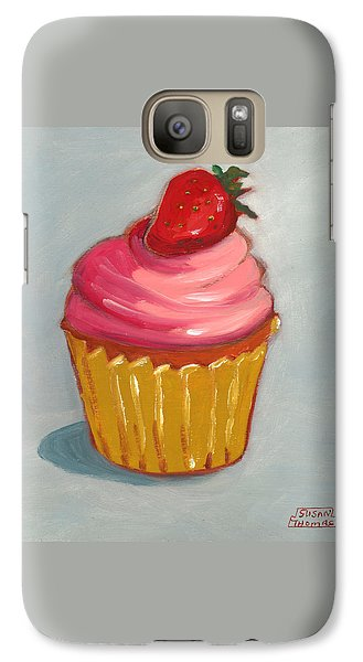 Galaxy Case featuring the painting Pink Strawberry Cupcake by Susan Thomas