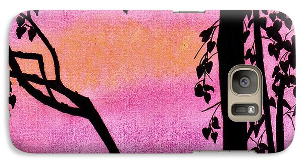 Galaxy Case featuring the drawing Pink Sky Sunset by D Hackett