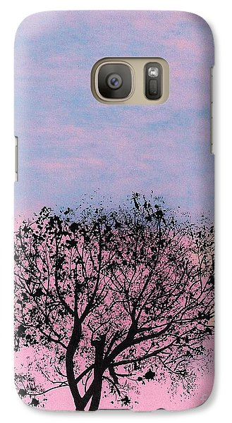 Galaxy Case featuring the drawing Pink Sunset by D Hackett