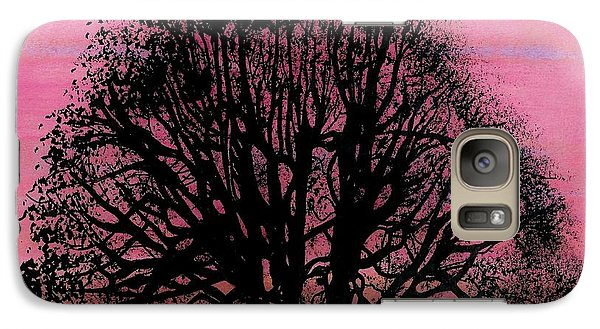 Galaxy Case featuring the drawing Pink Sunset Tree by D Hackett