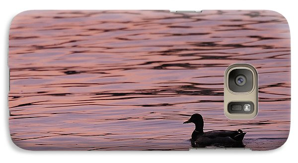 Galaxy Case featuring the photograph Pink Sunset With Duck In Silhouette by Marianne Campolongo