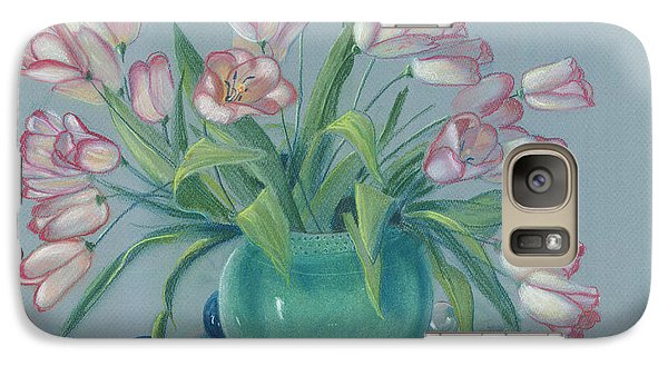Galaxy Case featuring the painting Pink Tulips In Green Vase by Dan Redmon