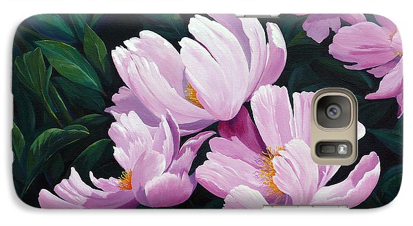 Galaxy Case featuring the painting Pink Windflower Peonies by Karen Mattson