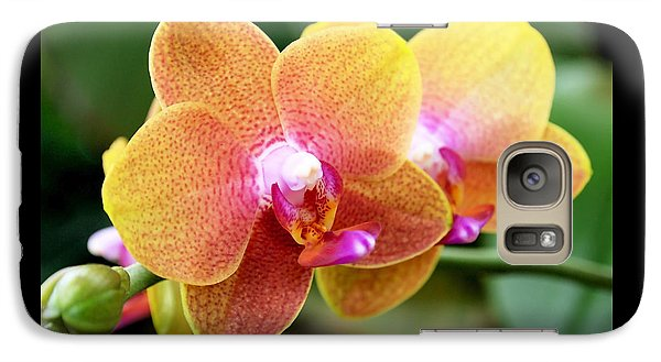 Pink Yellow Orchid Galaxy S7 Case by Rona Black